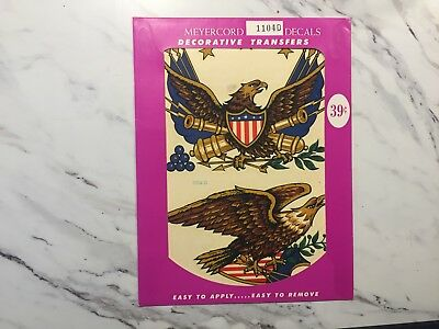 "Vintage NEW OLD STOCK Meyercord Decal Transfer American Eagle 6.75x8.75"" 1104-D"