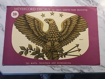"Vintage NEW OLD STOCK Meyercord Decal Transfer Gold American Eagle 9x14"" X547-A"