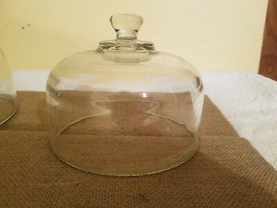 Heavy Glass Cake Plate Dome Cover Lid - Clear Glass Replacement Dome 6 1/2 IN.