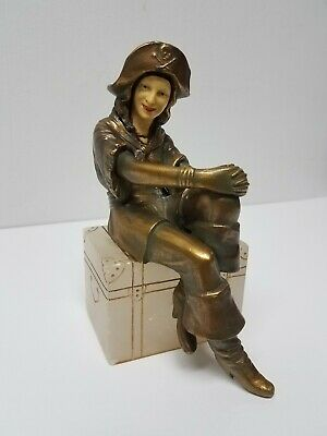 French J.B. Hirsch Sculpture Metal Celluloid Lady Pirate On Treasure Chest AS-IS