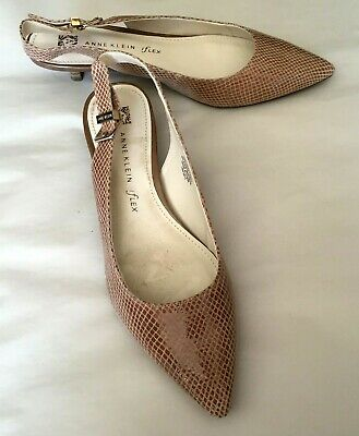 3e9e7407d07 Anne Klein Womens Shoes Brown Leather Sling Back Pointed Toe 2