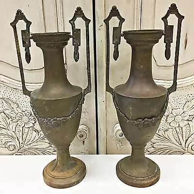 Antique French Pair of Copper Cassolettes Vases Urns Garnitures - TM528