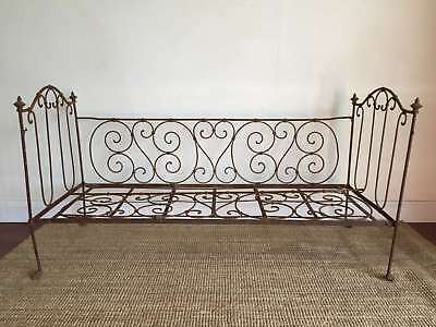 An Antique French Wrought Iron Day Bed Cot Folding c1870 - RL101