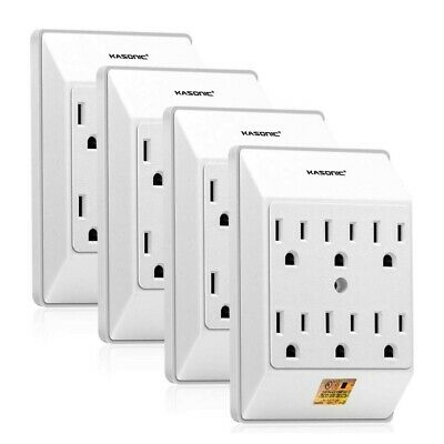 White 4 PACK Wall Mount power strip 6 Outlet Tap Grounded Wall Plug Extender