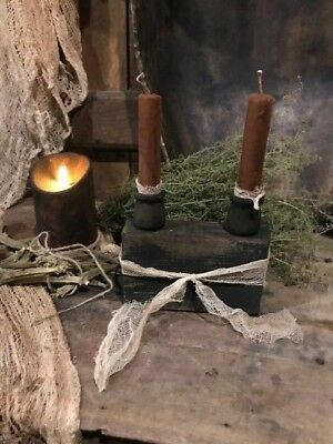 Primitive Candle Holder Grubby Candle Early Look Homestead Cupboard Tuck #4