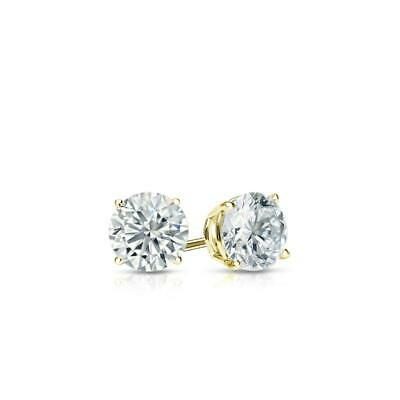 1 Ct Round Earrings Studs Solid 14K Yellow Gold Brilliant Cut Push Back Basket