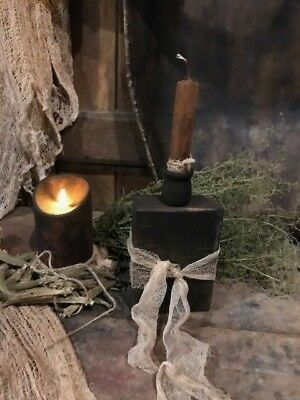 Primitive Candle Holder Grubby Candle Early Look Homestead Cupboard Tuck