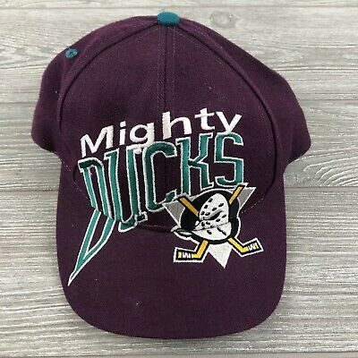 4183bcafaa494 VTG 90s Mighty Ducks Anaheim Disney Logo Snapback Baseball Cap Hat NHL  Hockey