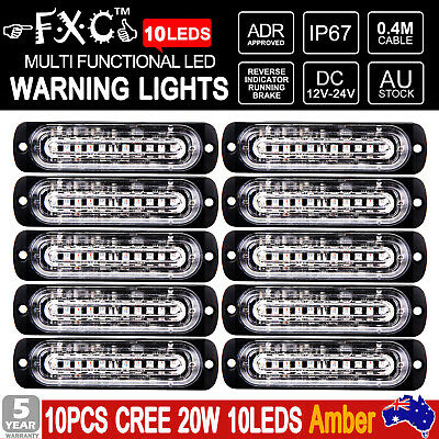 10x 12/24v 10 LED Recovery Strobe Flashing Lights Breakdown Lamps Amber AU STOCK