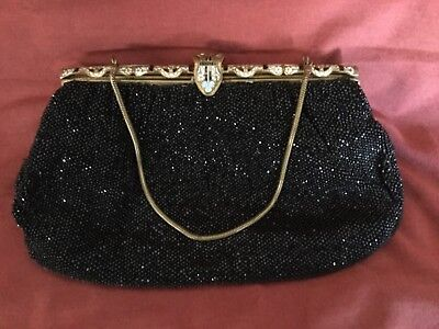 Vintage Beaded Purse, with lovely Enamelled Champleve Frame