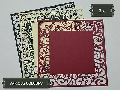 Ornate Square Leaves Paper Die Cuts x3 Scrapbooking Card Topper Embellishment