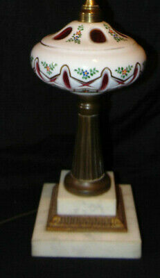 Vintage Cased White Cut To Ruby Bohemian Czech Art Glass Electric Table Lamp