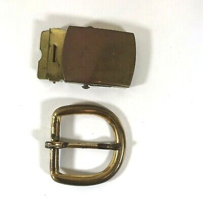 2 Vintage Brass Belt Buckles Patina 1 is Solid Brass USA Made 1 is Brass Plated