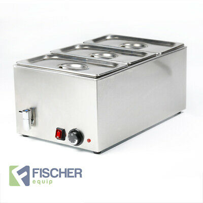 """""""NEW"""" - STAINLESS STEEL HOT FOOD WARMER 3 x 1/3 GN TRAYS INC BAIN MARIE 8710.1.3"""