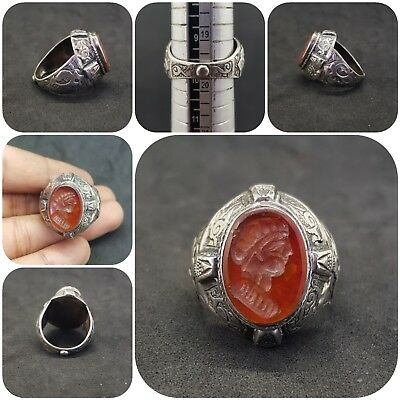 Solid silver Unique Old Ring with Queen wonderful intaligo Agate stone #J23