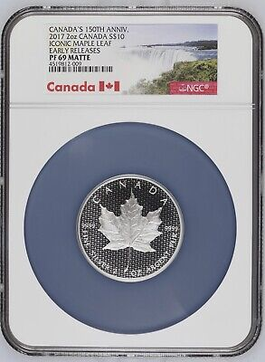 2017 Canada $10 150th Anniv. Iconic Maple Leaf 2 Oz .9999 Silver NGC MS69 Matte