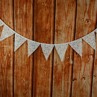 Vintage White Lace Triangle Flag Bunting Pennant Banner for Wedding Decor #ur