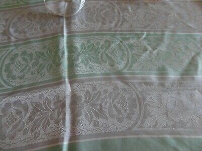 Vintage Large green and dove grey Irish Linen Damask Tablecloth 64in x 48in