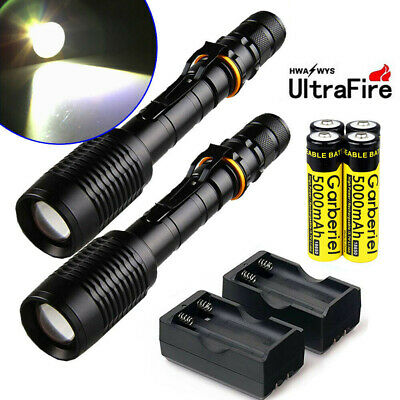 Tactical Ultrafire 50000LM T6 LED 18650 Zoomable Flashlight Torch Light &Charger