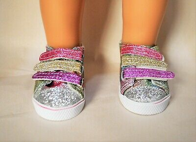 "American Girl Dolls Clothes Our Generation 18"" Doll Rainbow Glitter Shoes"