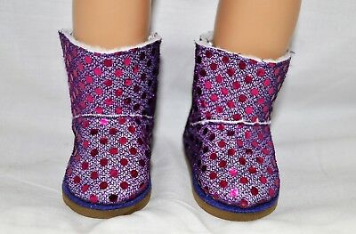 """Our Generation American Girl Doll 18"""" Dolls Clothes Shoes Purple Glitter Boots"""