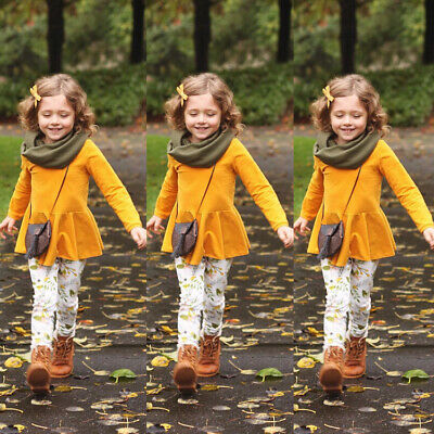 AU Child Toddler Kids Girls Outfits Clothes Long Sleeve T shirt Tops Pants Sets