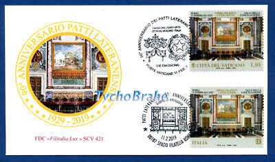 FDC 90° LATERAN PACTS 2019 JOINT First Day Cover Vatican + Italy - FILITALIA LUX