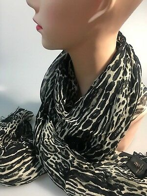 DAVID LAWRENCE LEOPARD PRINT long modal scarf black-white colour new with tag