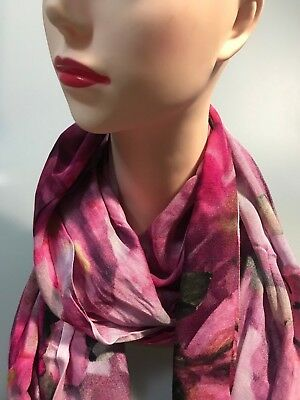 DAVID LAWRENCE BERRY BLOOMS long modal scarf red-multi colour new with tag
