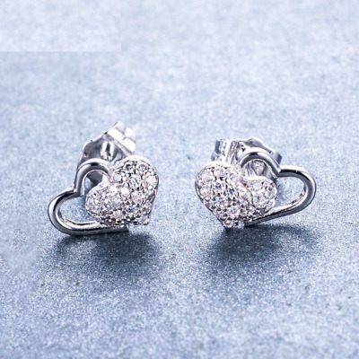 0.5ct Round Diamond Heart Shape Love Design Stud Earrings 14k White Gold Finish