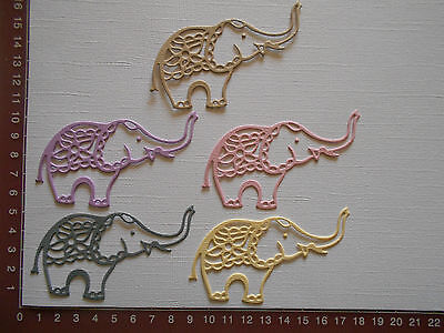 Die cuts - Elephants x 5  Birthday  Baby  Animals Embellishments