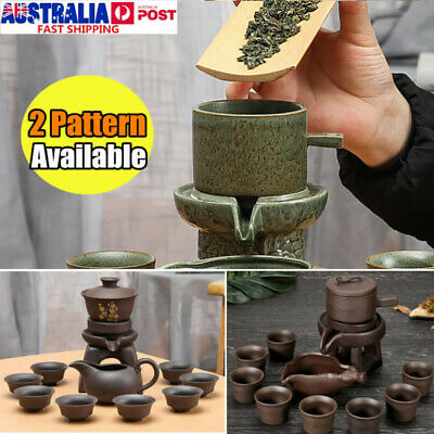 Chinese Kung Fu Infuser Tea Set Semi-automatic Purple Clay Teapot Pot Cup Kit AU