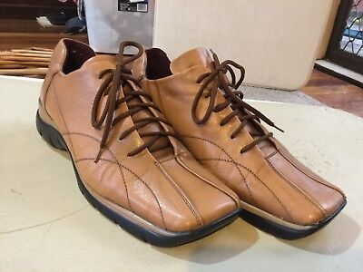 Vintage Mens Leather Casual Lace Up Square Toes Made In ITALY Kumfs Size 41