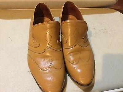 Vintage Mens Leather Shoes Mustard Made In Italy
