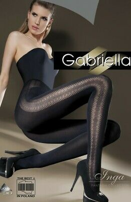 Gabriella Sophie Smokey Grey Patterned Tights Silky Sheen Opaque Pantyhose