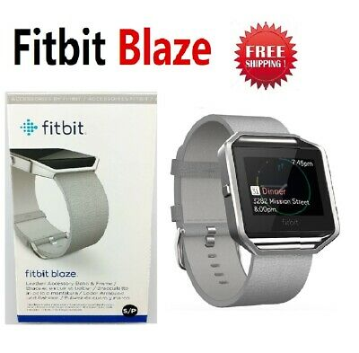 Fitbit BLAZE Fitness Watch Smartwatch Activity Tracker Leather Mist Grey Large