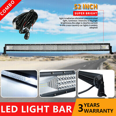 Curved 50Inch LED Light Bar Offroad Spot Flood Driving 4X4WD Truck +Wiring Kit