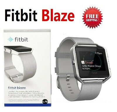 Fitbit BLAZE Fitness Watch Smartwatch Tracker Leather Mist Grey Large Small FB50