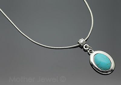 Lovely Birthday  Gift Turquoise Oval Pendant Silver Plated Womens Girls Necklace