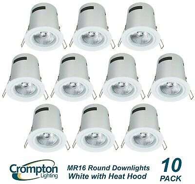 10x White Round Fixed Downlight Kits with Heat Hoods & Transformers 12V 35W MR16