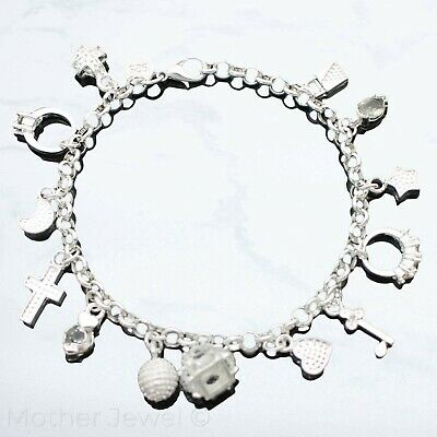 Stunning Ring Heart Cross Moon Key Star Cz Charms Sterling Silver Plate Bracelet