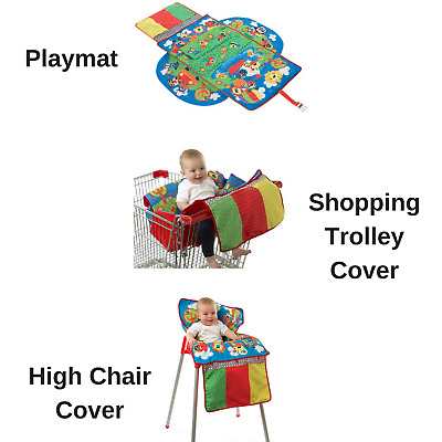 Playgro Travel Along Shopping Trolley High Chair Cover Baby Playmat 0m+ BPA Free