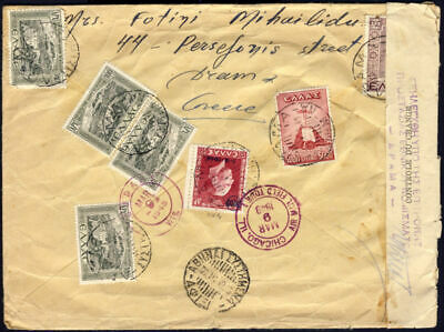 GREECE 1949 Civil Censorship markings inflation 9000 dr. air cover DRAMA to USA