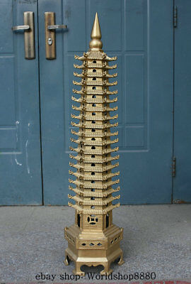 """39.6"""" Chinese Buddhism Temple Brass Copper Wenchang Stupa Pagoda Tower Statue"""
