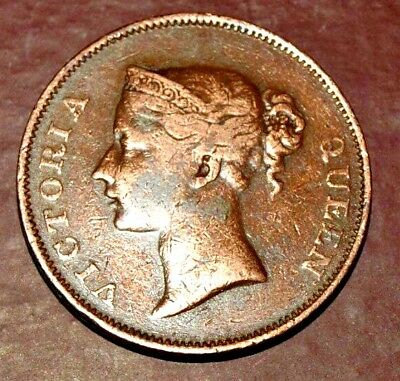 1845 British India V Q - ONE CENT COIN EAST INDIA COMPANY