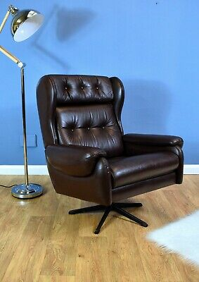 Mid Century Retro Vintage Danish Brown Leather Swivel Lounge Armchair 1980s