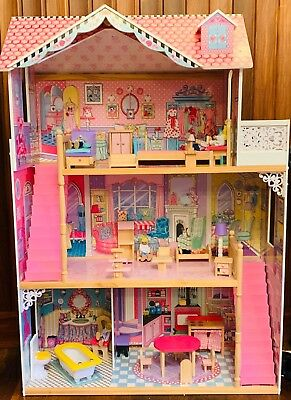 Wooden Kids Doll House With Furniture & Staircase