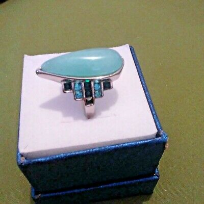 Russian Amazonite, Green and Blue Austrian Crystal Stainless Steel Ring Sz 6