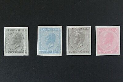 Belgium 1865 10c 20c 30c 40c King Leopold  SET IMPERFORATED SIGNED MNG $ J110