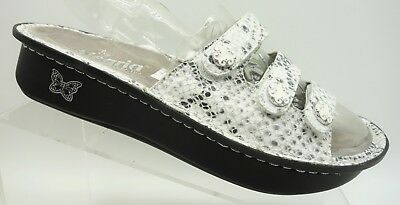 5ed1943caddc Alegria White Black Shimmer Snakeskin Print Leather Casual Sandals Womens 39    9